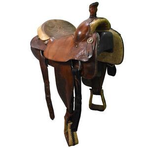 """Used 14.5"""" Circle Y Team Roping Saddle Code: U145CYTR78BSK"""
