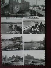 POSTCARD RP CAERNARVONSHIRE CONWAY BRIDGES OLD & NEW