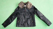 Black jacket coat with fur collar for girl age 8-9 years