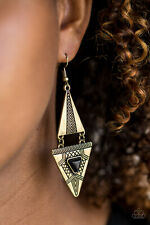 black stone brass earrings Paparazzi jewelry triangular frames earthy