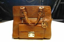 Michael Kors Large Gosford Embossed Brown Crocodile Leather Bag Tote Authentic