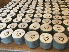 70 Pcs Rustic Wedding Centrepiece Card Holders Engraved Heart Quality Wood Uk