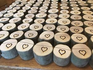 70x Rustic Wedding Name Place Card Holders Table Quality Tree Wood Heart Logs Uk