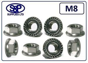 M8 (8MM 8mm) STAINLESS STEEL SERRATED FLANGE NUT GR 304 A2 ST/STEEL 13MM SPANNER