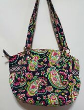 Vera Bradley Shoulder Hand Bag Purse Hobo Pretty Paisley Pink/Green/Navy Blue