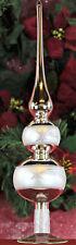 Traumhaft schöne doppel Christbaumspitze Lauscha Glas, Silber mit Sternschnuppe