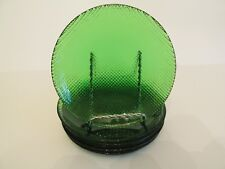 "Six Pretty Emerald Forest Green Glass Textured 6"" Appetizer Bread Plates"