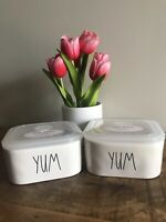 """""""New"""" Rae Dunn by Magenta """"YUM"""" Food Container Bowl with Vented Lid- Set 2"""