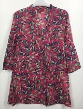 Monsoon Pink Blue Brown Sheer Cotton 3/4 Sleeve Tunic Blouse Size 12 B30