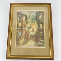 Abstract Impressionist Watercolor Painting Original Artist Signed Framed Artwork