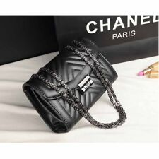 Women Check Quilted Chain Bag Pu Leather Zigzag Shoulder Cross body Handbag