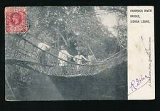 Africa SIERRA LEONE Hammock River Bridge PPC used 1913  local pub Lisk-Carew