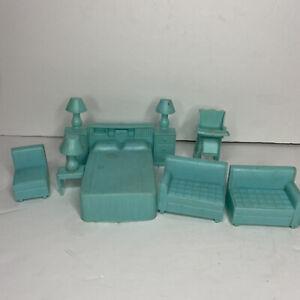 Lot of 8 Vintage Plastic Dollhouse Furniture Blue Superior