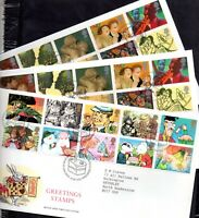 GB 1993-1997 Greetings FDC x 7 all different PMK's WS20867