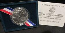 1991 Korean War Memorial Unc. Silver Dollar Commem. - Original Box/COA