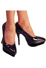 Sexy Stiletto High Heel Platform Court Shoes Kinky Negro Patente Talla 6