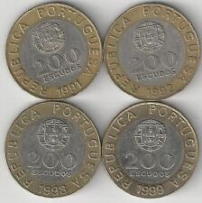 4 BI-METAL 200 ESCUDO COINS from PORTUGAL (1991, 1992, 1998 & 1999)