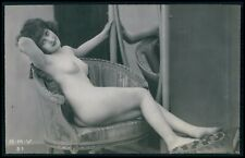 French nude woman beauty relax chair original c1910-1920s photo postcard BMV 31