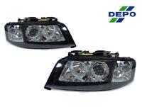 DEPO 3 Pin Auto Level Motor Black Angel Eye Headlights For 1997-2001 Audi A6 C5