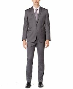 Kenneth Cole Mens Suits Gray Size 38 31X32 Skinny Fit 2 Piece Stretch $350 191