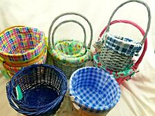 ASSORTED WOVEN WICKER BASKETS WITH COLOR ACCENTS CRAFTS HOBBY NEW W/ TAGS