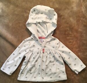 Carter's Jacket girls Size 6 month white hooded ears  silver hearts