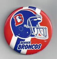 "1980's Denver Broncos button 3"" vintage NFL pin Football"