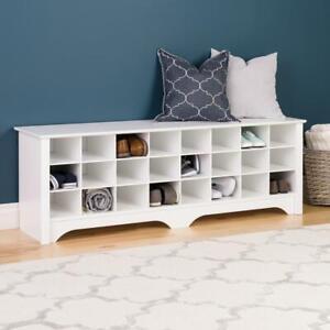 Shoe Storage Cubby Bench Composite Laminate Ready To Assemble Versatile White