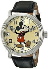 Disney Men's Vintage Mickey Mouse Wrist Watch With Black Leather Band Time New