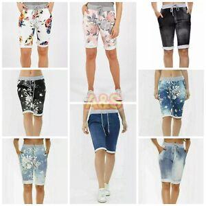 Ladies Women Italian Floral Star Printed Shorts Turn Up Summer Beach Shorts Pant
