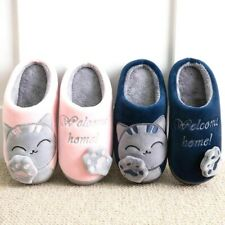 Women Slipper 3D Embroidery Cat Winter Warm Plush Shoes Home Indoor Rubber Flat