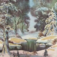 Vintage Mid Century Christmas Greeting Card Mica Glitter Snowy Forest Stream