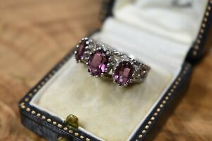 Sterling Silver Victorian Style Purple Trilogy Ring Three Stone Size O 1/2