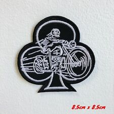 Club Symbol Riding Skeleton Biker Iron on Sew on Embroidered Patch #1793