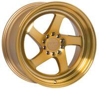 F1R F28 18X8.5 +38 5X114.3 GOLD RIM FIT ECLIPSE GALANT LANCERES SENTRA ALTIMA