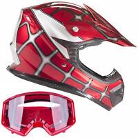 Youth Red Spiderman Motocross Helmet with Red Goggles Kids Combo DOT ATV UTV