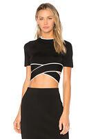 T by Alexander Wang Short-Sleeve Crisscross Crop Top W/ Tipping, Black M