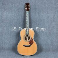 Handmade Top Quality OM Style Full Solid Acoustic Guitar Abalone Binding Ebony