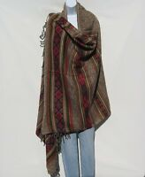 Yak Wool Blend|Shawl/Throw|Handloomed|Nepal|Reversible|Base Colors: Khaki & Sand
