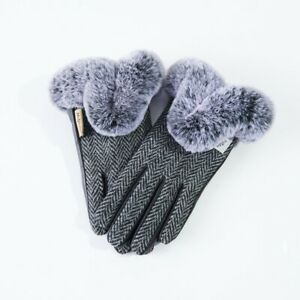 SNOW PAW HARRIS TWEED & LEATHER LADIES GLOVES WITH FAUX FUR BLACK-WHITE S M L
