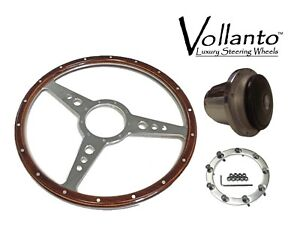 Triumph Spitfire14 inch wood and alloy Steering wheel with polished fitting hub