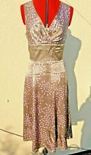 Ted Baker Dress.100% Silk 12/14 UK Silver with pink/lilac petals,wedding,prom