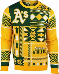 FOCO Oakland Athletics MLB Men's Patches Ugly Sweater, Green/Gold
