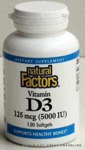 1 Bottle Natural Factors Vitamin D3 5000 Iu (125 mcg) 120 Softgels D 3 -  5,000
