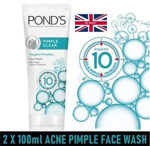 **New 2 X 100ml Ponds Pimple Clear Acne face Marks Blackhead remove Face wash UK