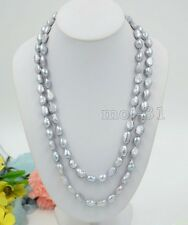 Natural Huge 12-14Mm South Sea Genuine Silver Gray Baroque Pearl Necklace 35 ''