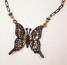 USA-Made Necklace/Earrings Set w/ Bronze Castings of Butterfly by Cavin Richie