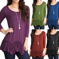 Plus Size Women Casual O-Neck  Tunic Shirt 3/4 Sleeve Ruched Tops Blouse