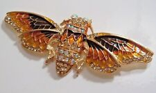 LARGE MOTH OR CICADA BROOCH AB RHINESTONES GOLD AMBER ORANGE COLORS INSECT PIN