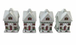Lenox SLEIGHRIDE Napkin Ring Holders Christmas House Set of 4 NEW